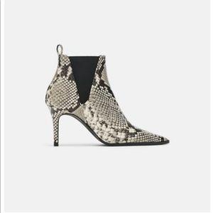 Zara faux snakeskin booties size 39
